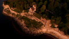Church on the edge of a cliff seen from above - 4K Drone Video Stock Footage