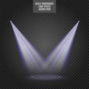 Scene illumination, transparent effects. Bright golden lighting with spotlights Stock Illustration