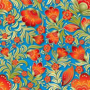 abstract summer seamless floral ornament - stock illustration