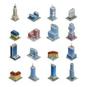 Building Isometric Icons Set Piirros