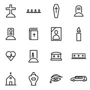 Vector illustration of thin line icons - funeral - stock illustration