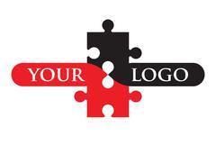 Red and black jigsaw logo Stock Illustration