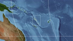 Vanuatu - 3D tube zoom (Mollweide projection). Satellite Stock Footage