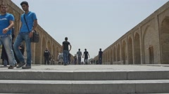 Khaju Bridge Isfahan walkers Stock Footage