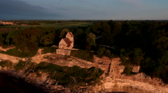 Church on the edge of a cliff seen from the sea - 4K Drone Video Stock Footage