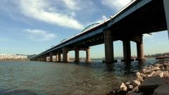 Han River Bridge in Seoul, Korea Stock Footage