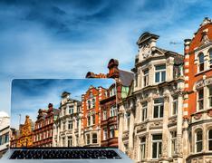 Viewing London city buildings on modern laptop Stock Photos
