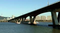 Han River View in Seoul, Korea Stock Footage