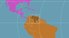 Venezuela - 3D tube zoom (Mollweide projection). Continents Stock Footage