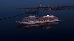 Cruiseship leaving Copenhagen Port - 4K Drone Video - stock footage