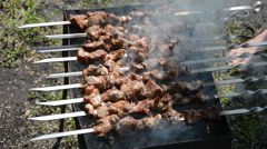 Shashlik grill over coals Stock Footage