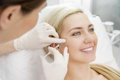 beauty facial injections - stock photo