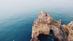 Seagulls over rocks in the ocean aerial view Stock Footage