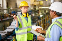 Reporting to foreman Stock Photos