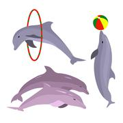 Playful dolphins. Dolphin set hand drawn. Sea Animal - stock illustration