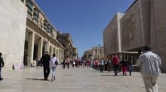 Republic Street, Parliament Building, and Shopping Arcades in Valletta, Malta. Stock Footage