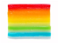 Asian steamed rainbow layered rice cake Stock Photos