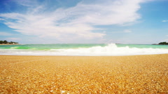 Coastline Sri Lanka, beach, sand and the Indian Ocean Stock Footage
