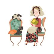 Old woman with her cats Stock Illustration