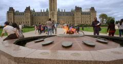 Centenial Flame Burning infront of the Peace Tower Stock Footage