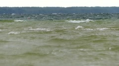 The Water in the Lake Shade of Green Swaying in the Wind. Slow Motion. Stock Footage