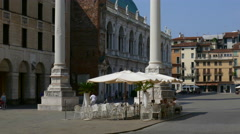 Vicenza - Piazza dei Signori and the venetian coloumns - stock footage