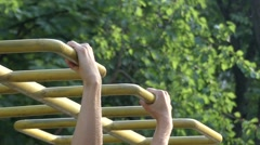 Athlete Doing Pull-Ups on the Bar. Stock Footage