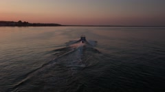 Waterskiing in the sunset - 4K Drone Video Stock Footage