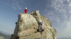 Mountaineer pov to expedition climbing to Mytikas rocky summit on Olympos Stock Footage