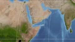 Yemen - 3D tube zoom (Kavrayskiy VII projection). Satellite Stock Footage