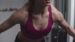 Lifting Up Dumbbells - stock footage