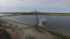 Explosive Demolition of Power Masts - 4K Drone Video Stock Footage