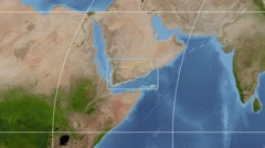 Yemen - 3D tube zoom (Mollweide projection). Satellite - stock footage