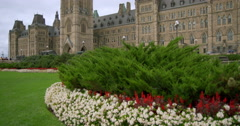 Flowers and Peace Tower on Parliament Hill Stock Footage