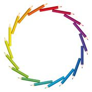 Colored Pencils Circle Disk Saw Pattern Stock Illustration