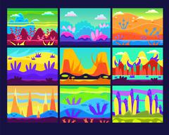 Game Background Vector Illustration Set - stock illustration