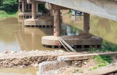 New pillar of the concrete bridge Stock Photos
