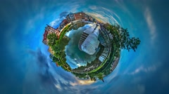 Little Tiny Planet 360 Degree River Flows in City Waterfall in the Distance Stock Footage