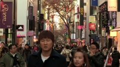 Myeong-dong in Seoul, Korea, time laps photography Stock Footage