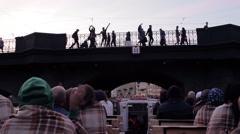 People On The Pleasure Boat Swim Under The Bridge - stock footage