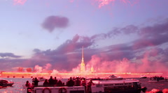 Peter And Paul Fortress Lit By Flashes Of Fireworks Stock Footage
