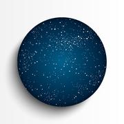 Vector circle frame. Starry night sky. - stock illustration