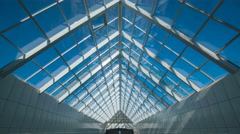 The construction of the roof in the business center. Wide angle. Time lapse Stock Footage