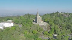 Church Convent on top of Mountain Aerial 2.7K 50p - stock footage