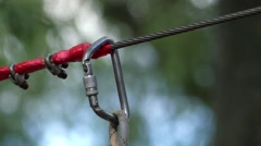 Hands to Close the Carabiner Closeup. Stock Footage