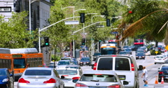 Traffic jam during rush hour in Los Angeles Downtown California 4K RAW Stock Footage