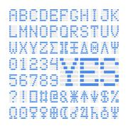 Blue digital font numbers, letters and planets Stock Illustration