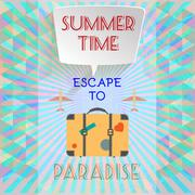 Abstract summer time infographic, with book now and escape to paradise text, - stock illustration