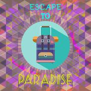 Abstract summer time infographic, escape to paradise text, a big baggage. Dig - stock illustration