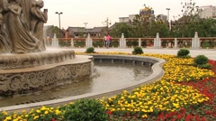 Exterior of the fountain at the Huaqing hot springs in Xian, China. Stock Footage